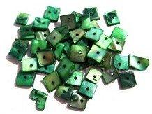 Perleťové korálky čtverce zelené