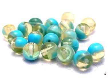 Korálky skleněné mačkané kuličky tyrkys melír 6 mm