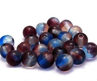 Korálky skleněné mačkané kuličky modrohnědý melír 6 mm
