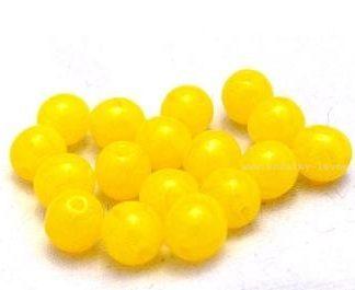 Korálky skleněné mačkané kuličky žluté 6 mm