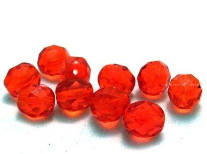 Korálky skleněné ohňovky 8 mm červené
