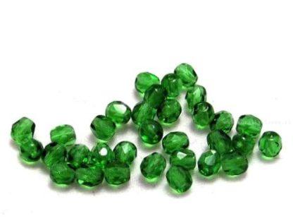 Korálky skleněné ohňovky 4 mm zelené