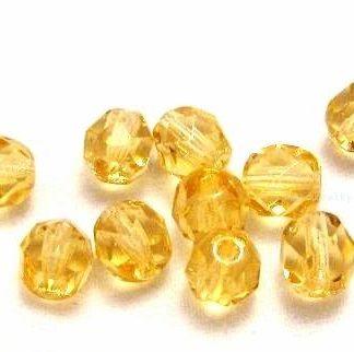 Korálky skleněné ohňovky 6 mm žluté