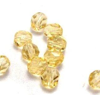 Korálky skleněné ohňovky 6 mm žluté světlé
