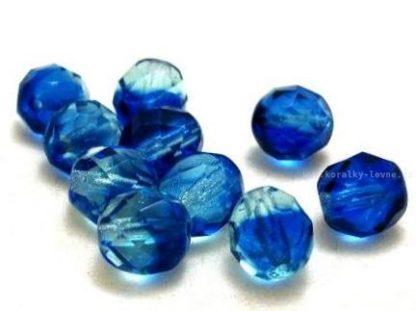 Korálky skleněné ohňovky 8 mm modré šmolkově