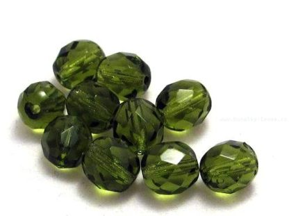 Korálky skleněné ohňovky 8 mm zelené olivové