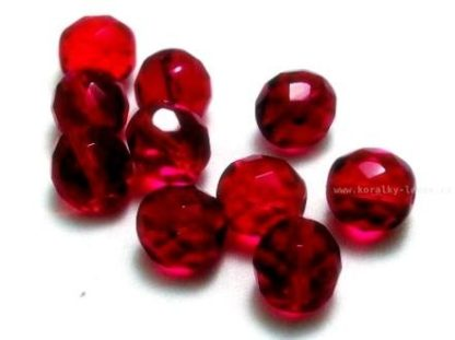 Korálky skleněné ohňovky 10 mm rubínové