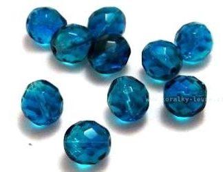 Korálky skleněné ohňovky 10 mm modré