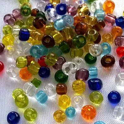 Korálky Rokajl 4 mm průhledný směs barevná