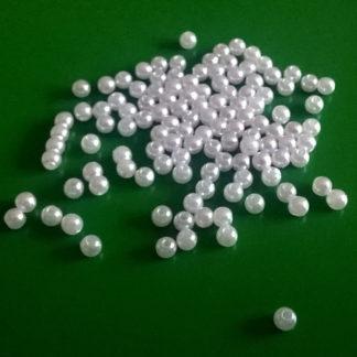 Korálky plast perličky 4 mm bílé 100 ks