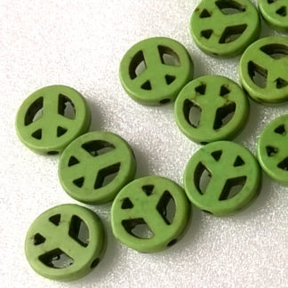 Korálky Howlit PEACE 1 cm zelený