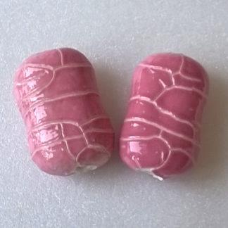 Korálky porcelán 30 x 20 x 12 mm růžový