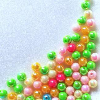 Korálky plast perličky 6 mm color mix 65 ks