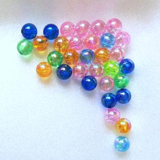 Korálky plast perličky 8 mm color mix metalíza