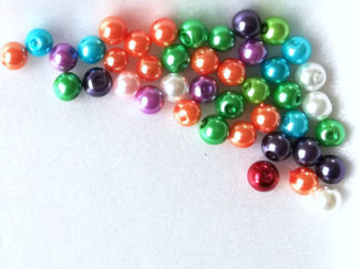 Korálky plast perličky 8 mm color mix 20 ks