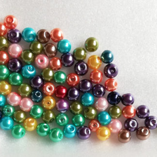 Korálky plast perličky 6 mm color mix 12 ks
