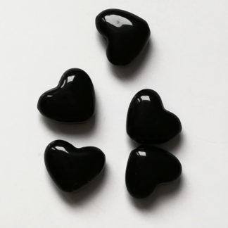 Korálky akryl Srdíčko 14 x 12 mm černé