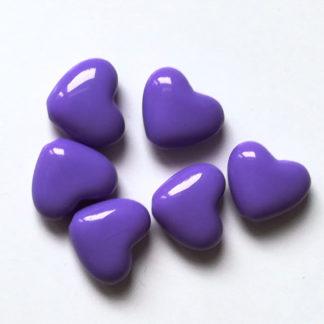 Korálky akryl Srdíčko 14 x 12 mm fialové