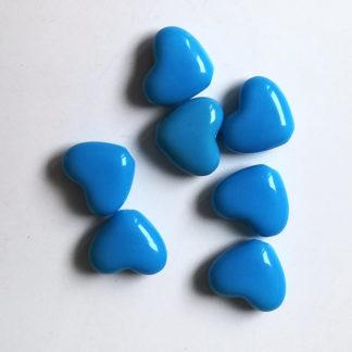 Korálky akryl Srdíčko 14 x 12 mm modré