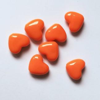 Korálky akryl Srdíčko 14 x 12 mm oranžové