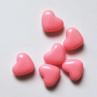 Korálky akryl Srdíčko 14 x 12 mm růžové