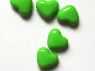 Korálky akryl Srdíčko 14 x 12 mm zelené