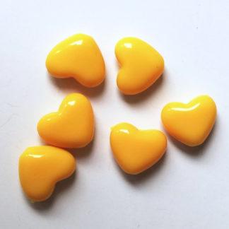 Korálky akryl Srdíčko 14 x 12 mm žluté